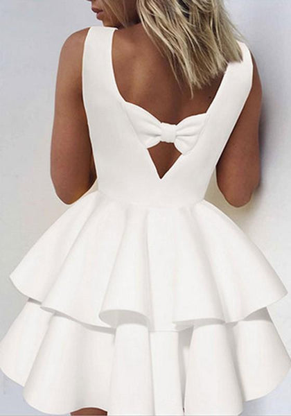 New Women White Draped Bow Backless A-Line Sleeveless Mini Dress