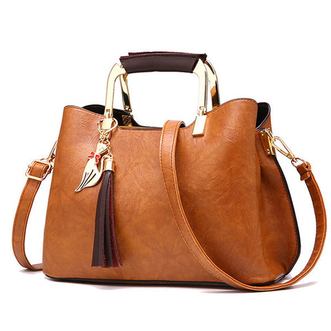 Women PU Leather Tote Bag Retro Crossbody Bag