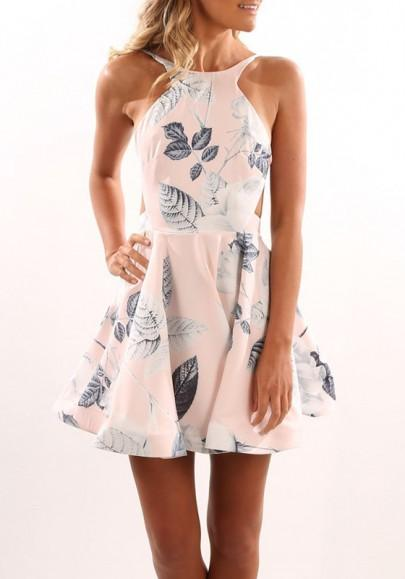 New Women Pink Floral Print A-Line Backless Sleeveless Mini Dress