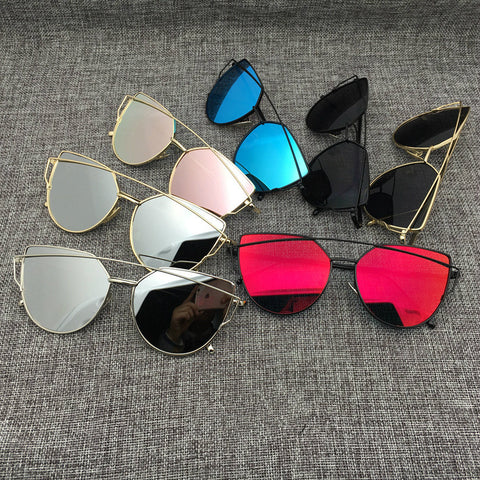 New Cat Eye Aviator Sunglasses Women Vintage Fashion Metal Frame Mirror Sun Glasses Unique Flat Ladies Sunglasses