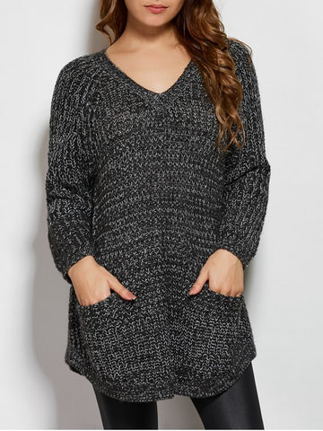Dark Gray Pockets V Neck Loose Sweater