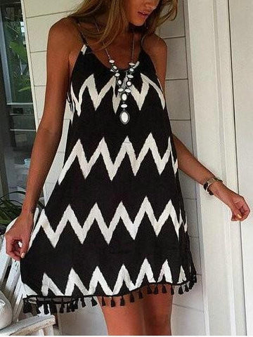 Stylish Casual Tassels Monochrome Spaghetti Strap Dress