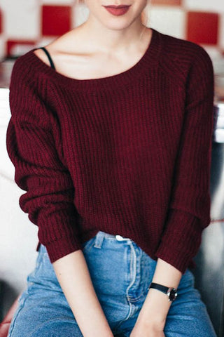 Women Casual Boat Neck Loose Knit Sweater
