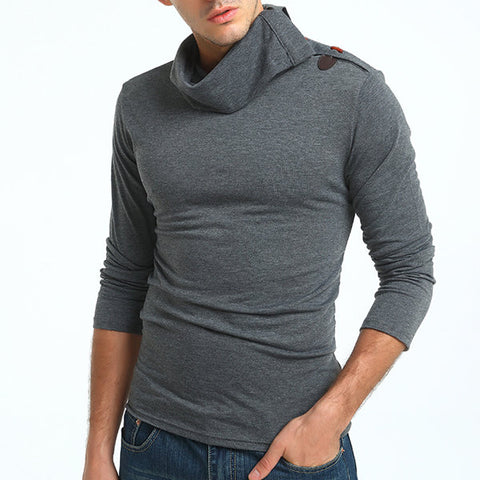 Mens Brief Style Horns Design High Collar Long Sleeve Slim Fit Casual T-shirt