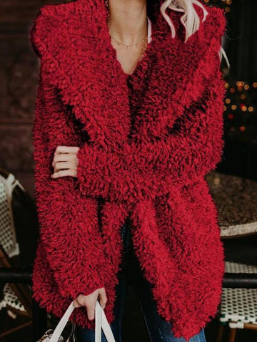 Red Faux Fur Turndown Collar Hooded Casual Teddy Winter Cardigan Coat