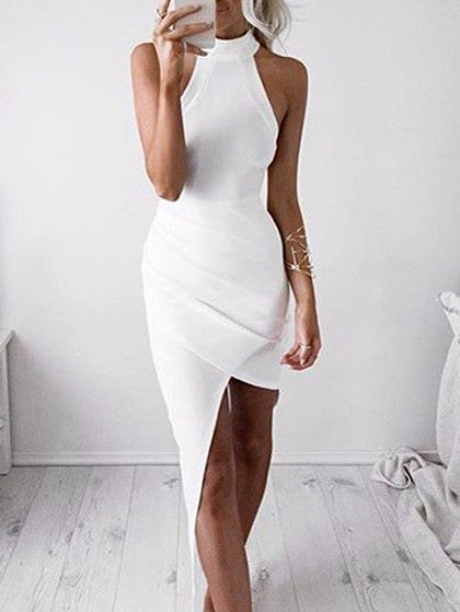 Cute Sleeve Less White Solid Bodycon Dress