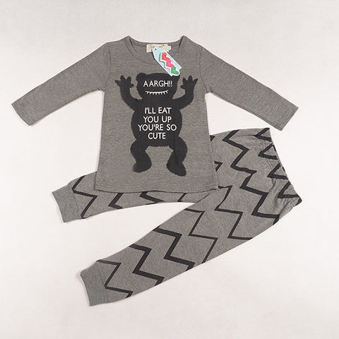 Cute Infant Baby Boy Girl Cotton Cartoon Monster Print Clothes Suits