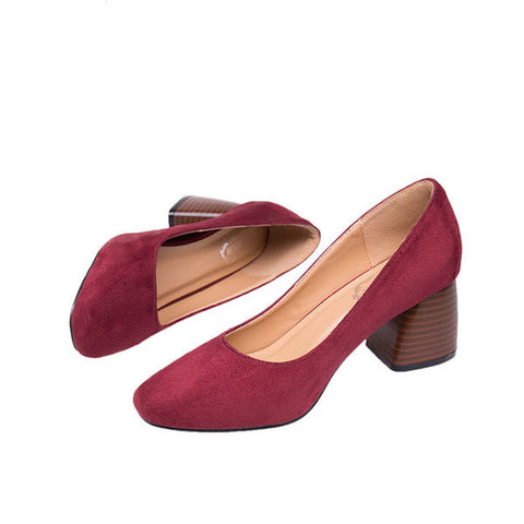 Vintage Pure Color Suede Square Heel Casual Shoes