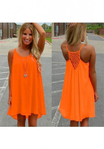 New Women Orange Draped Irregular Spaghetti Strap High-low Mini Dress