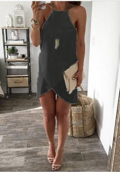 New Women Black Irregular Square Neck Sleeveless Fashion Mini Dress