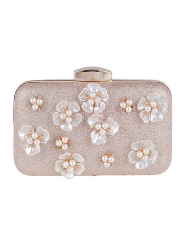 Embossed Floral Chain Clutch Bag