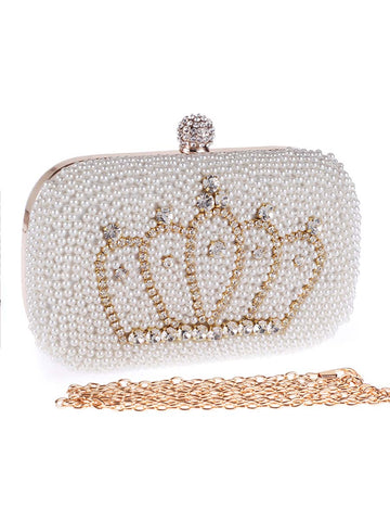 Pearls Beading Crown Clutch Bag