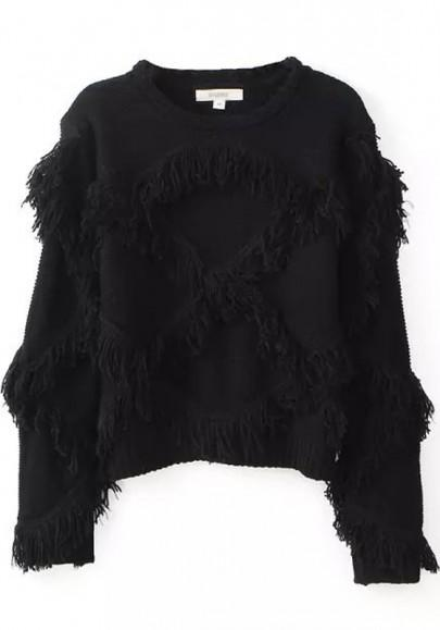 New Women Black Plain Tassel Loose Pullover