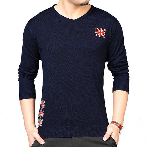 Mens Jacquard Pullover Solid Color Regular Fit O-Neck Long Sleeve Casual Knit Sweater