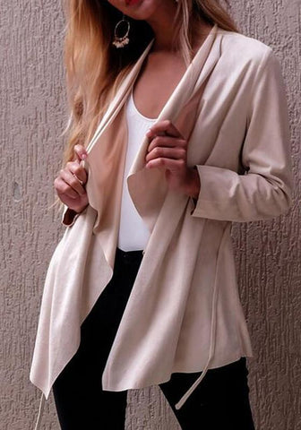 Apricot Sashes Irregular Long Sleeve Fashion Cardigan Coat