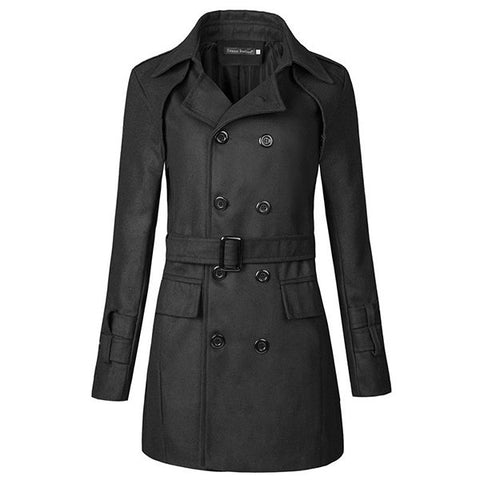Mens Stylish Double Breasted Mid-Long Jacket Fall Winter Cotton Trench Coats