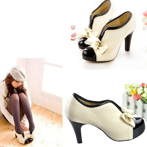 New Fashion Sexy Lady Beige Bow Pump Platform Women High Heel Shoes