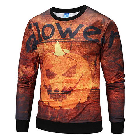Mens Halloween Funny 3D Pumpkin Printing O-neck Long Sleeve Casual T-shirts