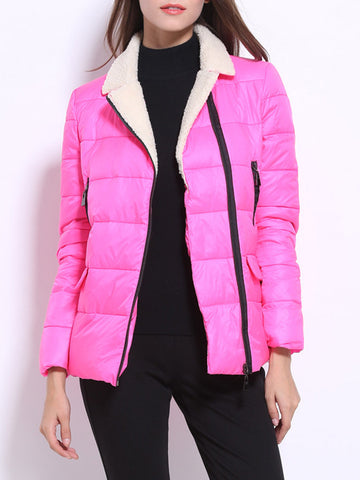 Casual Pure Color Patchwork Lapel Long Sleeve Women Down Coats
