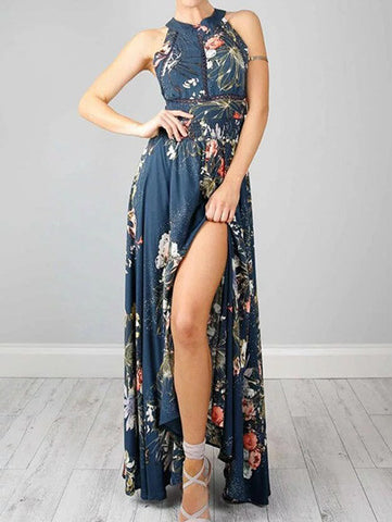 Sexy Open Back Vintage Floral Print Maxi Dress