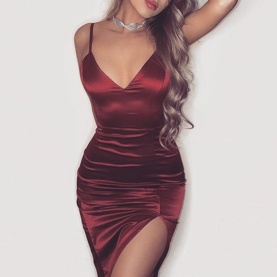 Sexy V Neck Side Slit Bodycon Club Dress