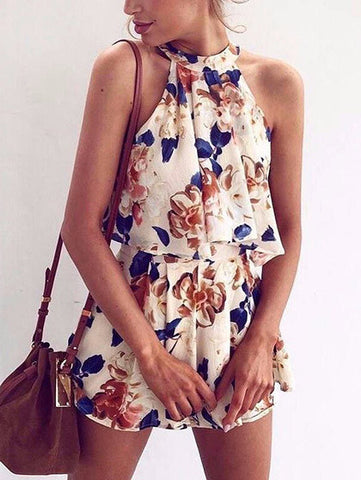 Lost In Flowers Strappy Crop Top Shorts Set