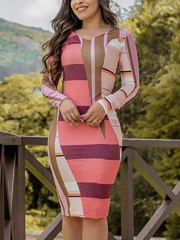 Pink Color Block Print Bodycon Round Neck Long Sleeve Fashion Midi Dress