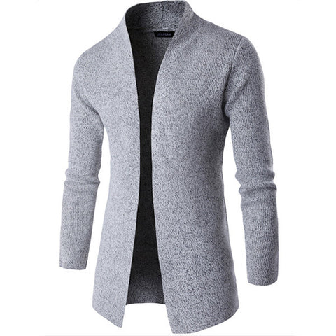 Mens Woolen Knitted Cardigans Solid Color Mid-long Stand Collar Casual Outwear
