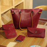 4PCS PU Leather Stylish Handbag Phone Bag Wallet Card Holder