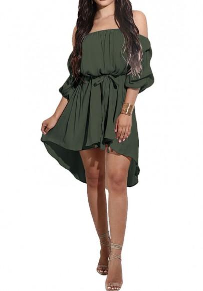 New Women Army Green Belt High-low Off Shoulder Long Sleeve Mini Dress