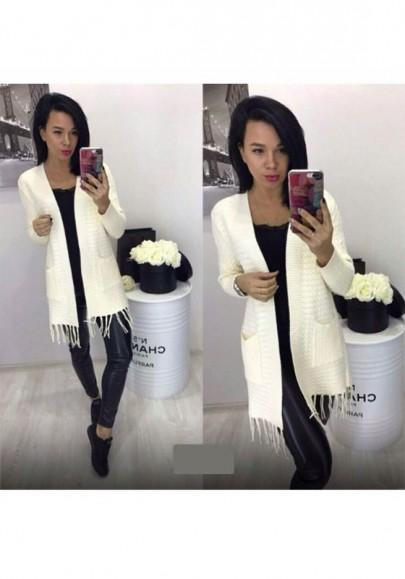 New Women Beige Pockets Tassel Long Sleeve Sweet Cardigan Sweater