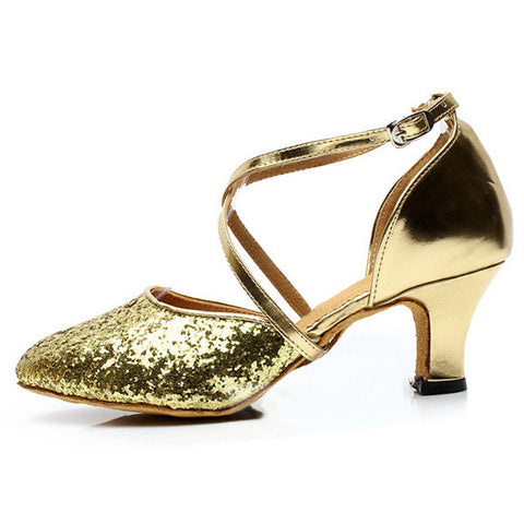 Sequins Pure Color Mary Jane Modern Mid Heel Shoes