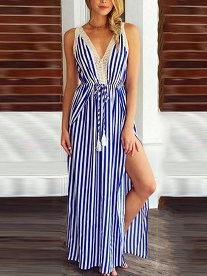Blue Stripe V-neck Drawstring Waist Thigh Split Side Maxi Dress