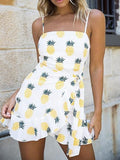 White Spaghetti Strap Pineapple Print Tie Waist Mini Dress