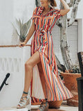 Polychrome Stripe Cotton Lapel Tie Waist Chic Women Maxi Dress