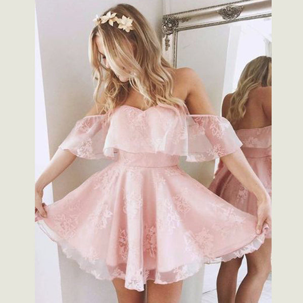 A-Line Off Shoulder Ruffle Lace Homecoming Mini Dress