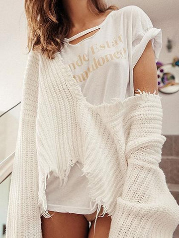 White V-neck Tassel Trim Long Sleeve Chic Women Knit Sweater