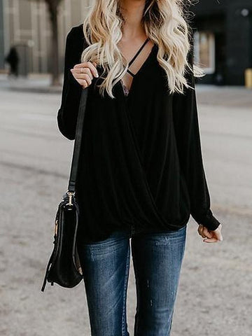 Black Cotton Blend V-neck Cross Strap Long Sleeve Chic Women Blouse