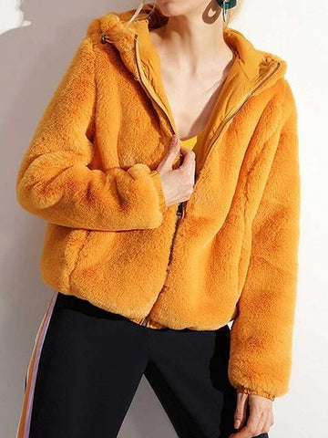 Yellow Long Sleeve Chic Women Fluffy Hooded Coat