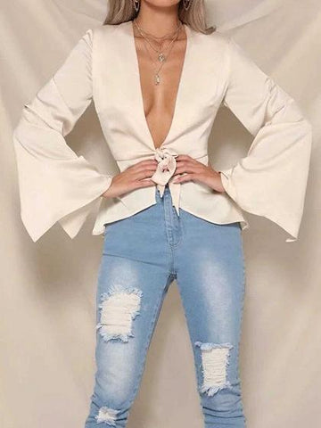 Beige Plunge Tie Front Flare Sleeve Chic Women Blouse