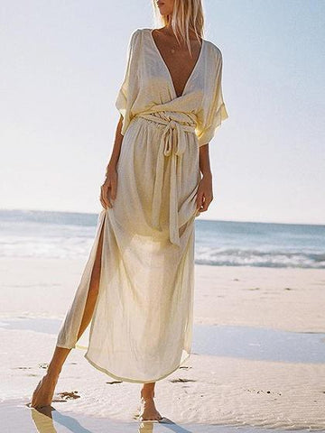 White Plunge Tie Waist Flare Sleeve Women Maxi Dress