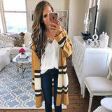 Fashion Loose Striped Jumper Long Knitted Sweater Cardigan