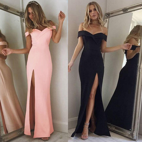 Off Shoulder Side Slit Boat Neck Prom Elegant Maxi Dress