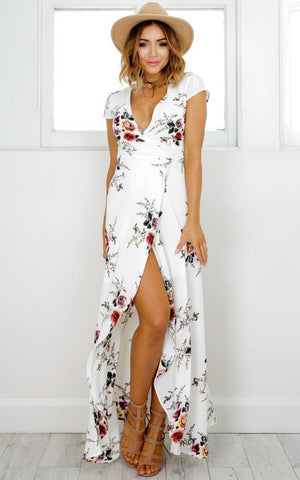 Elegant Floral Printed V Neck Short Sleeve High Split Maxi Dress