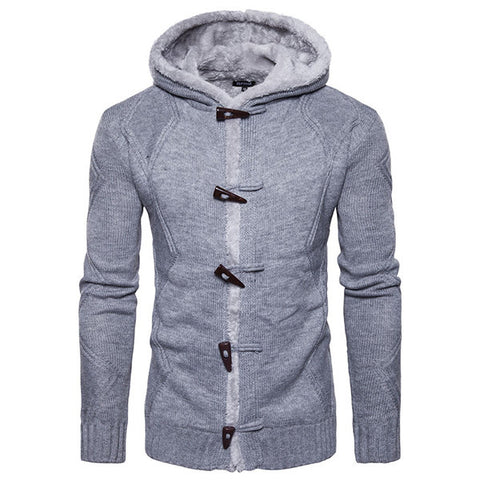 Mens Winter Thick Fleece Lining Hooded Sweater Horns Design Knitted Casual Cardigans