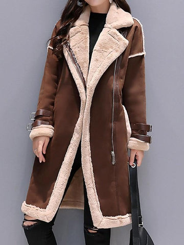 New Brown Patchwork Pockets Fur Zipper Turndown Collar Long Sleeve Casual Coat