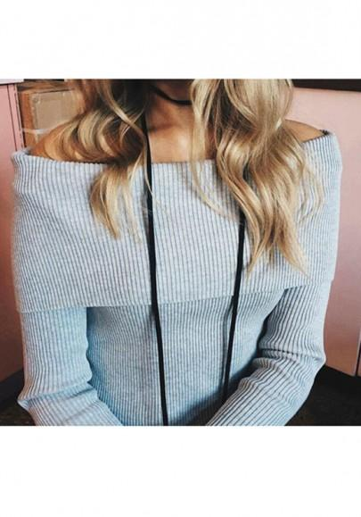 New Women Grey Plain Boat Neck Off-shoulder Long Sleeve Slim Pullover Sweater
