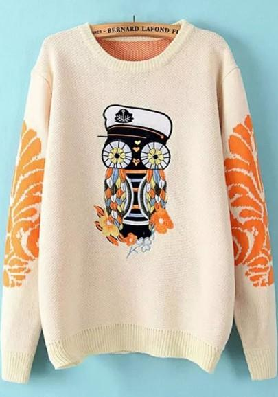 New Women Beige Owl Embroidery Pullover