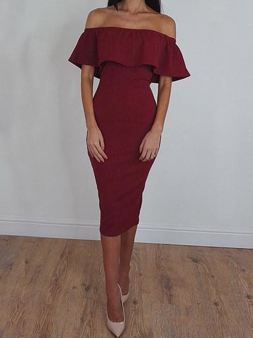 Sexy Off The Shoulder Flounce Solid Color Dress