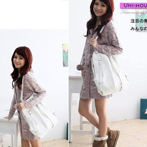 New Fashion New Korean Style Fashion Lady 2 Ways PU Leather Backpack Purse Handbag Shoulders Bag